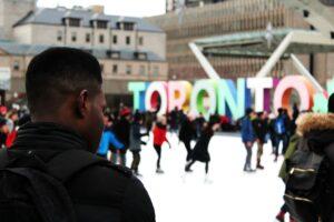 Skating Outdoors in Toronto at Nathan Phillips Square